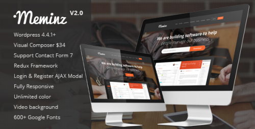 Meminz is download software landing page with modern design, designed for many kind software download and app website. This template built with twitter bootstrap v3.2.0, css3 and HTML5 code. coming with 6 index variant, 170 sroke icons, unlimited color option, working contact form, css animate, video background, extra login and register page.